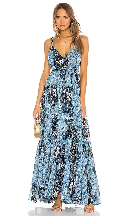 Ulla Johnson Kemala Printed Silk Dress In Sky