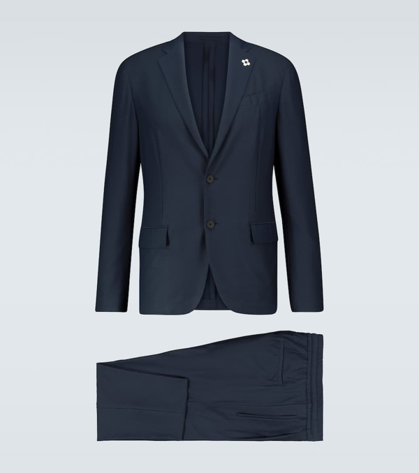 Lardini Easy Wear Slim-fit Travel Suit In Blue