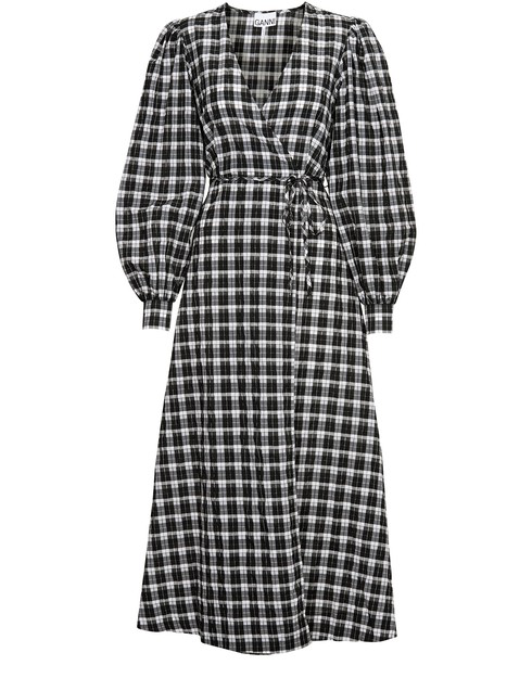 Ganni Long Sleeve Check Seersucker Wrap Dress In Black Modesens