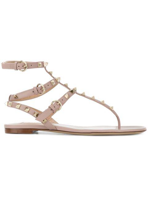 Valentino Garavani Rockstud Flat Flip-flop Sandal In S69 Skin