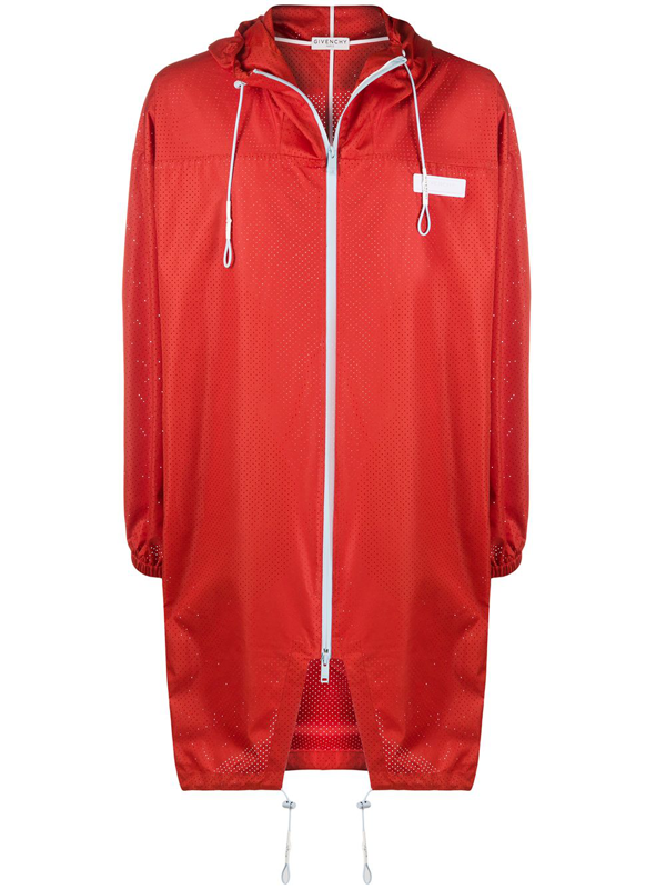 Givenchy Oversized Perforated Hooded Parka In Red