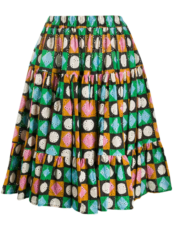 La Doublej Lucky Charms Print Tiered Skirt In Green