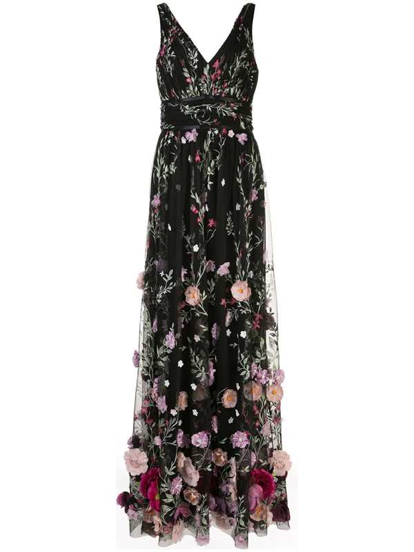 Marchesa Notte Women's Embroidered Flower Gown In Black