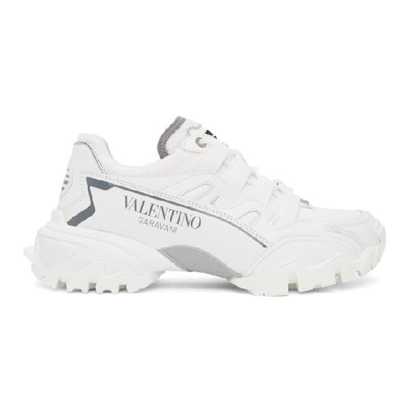 Valentino Garavani Climber White Leather & Mesh Sneakers In 0bo White