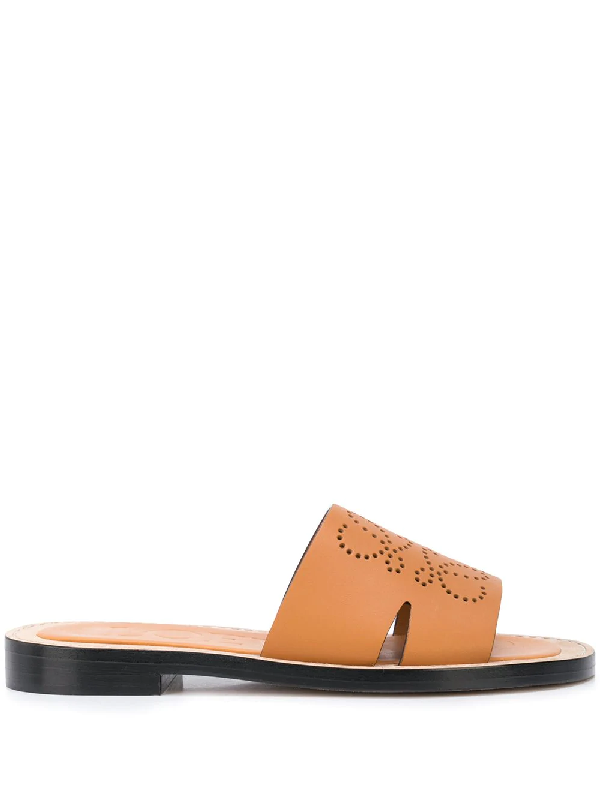 Loewe Anagram Perforated Logo Leather Sandals In Brown