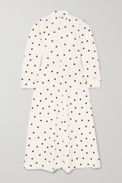 Ganni Printed Cotton Poplin Flared Dress L/s Fantasy In Ivory