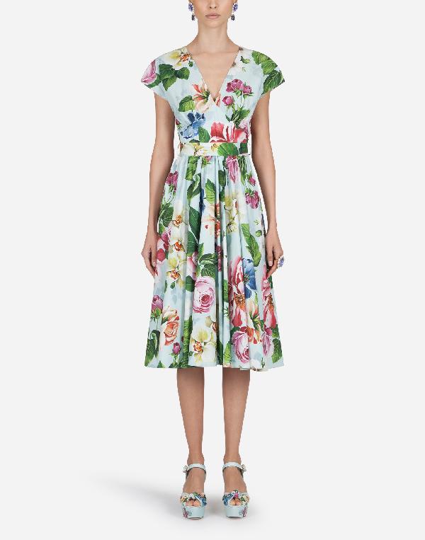 Dolce & Gabbana Floral-print Poplin Midi Dress In Light Blue,pink,green