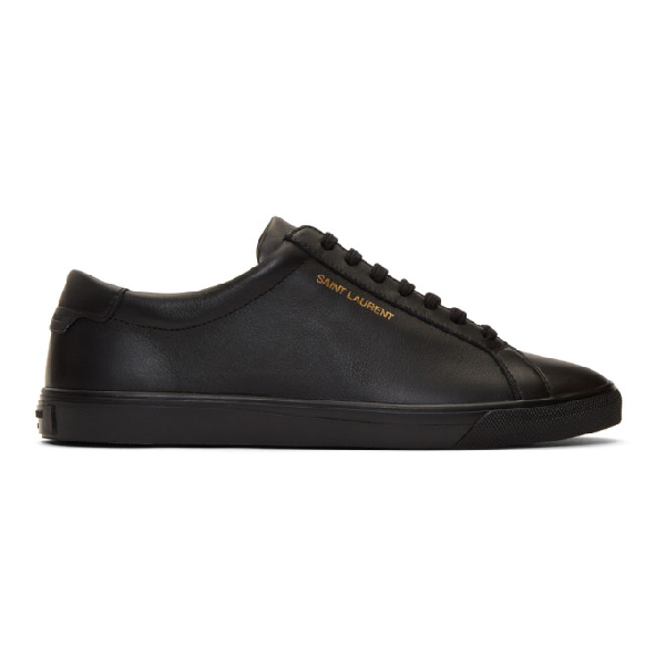 Saint Laurent Andy Logo-print Leather Trainers In 1000 Black