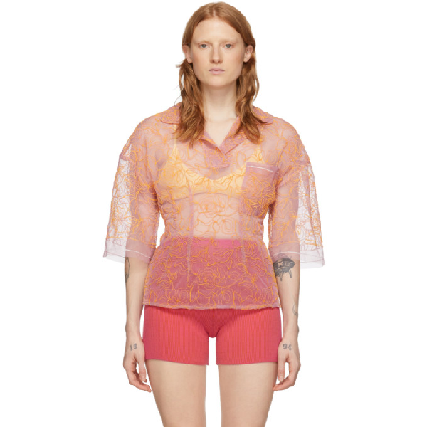Jacquemus Le Polo Lavandou Embroidered Top In Pink/orange