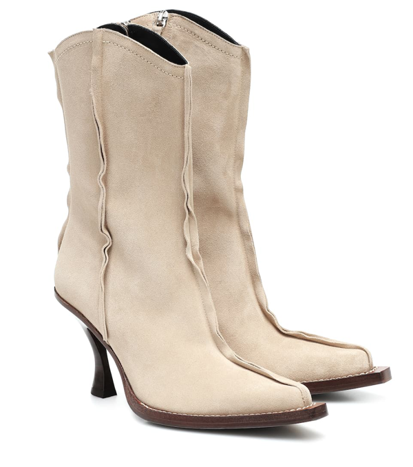 Acne Studios Suede Ankle Boots In Beige