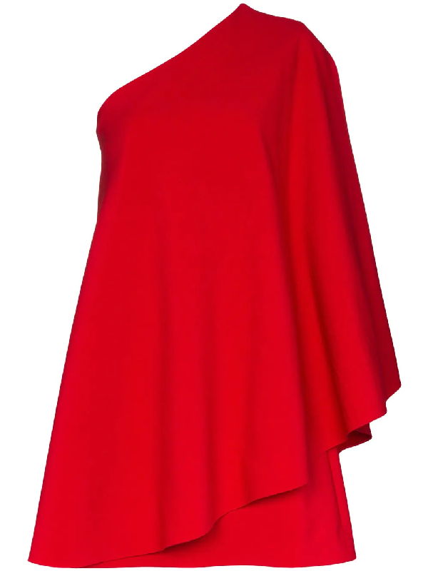 Valentino One-sleeve Cape-effect Wool-blend Crepe Mini Dress In 157red