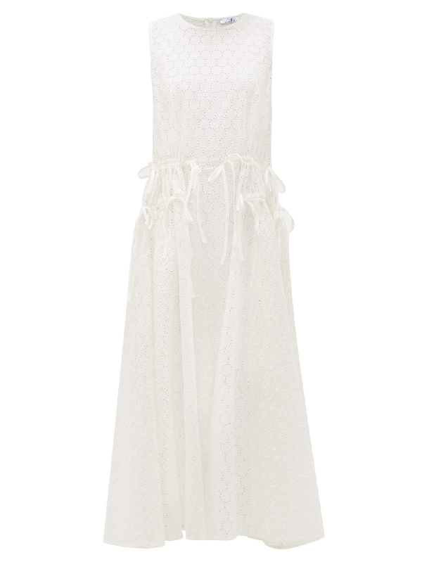 My Beachy Side Drawstring-waist Cotton Broderie-anglaise Dress In White