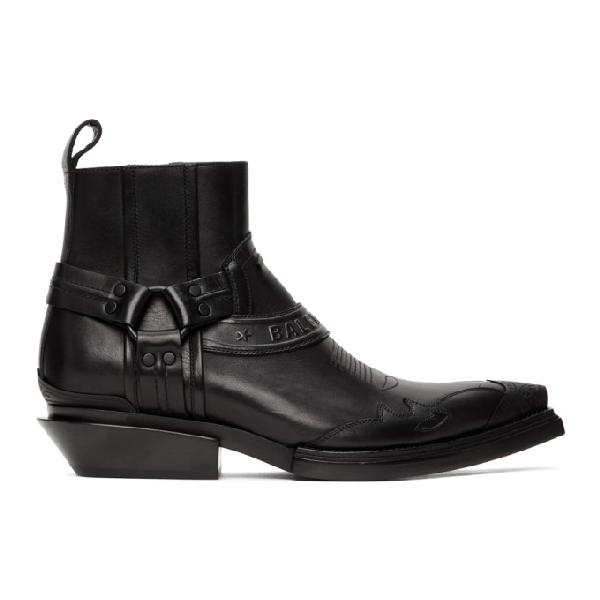 Balenciaga Santiag Harness Leather Western Boots In 1000 Blkblk