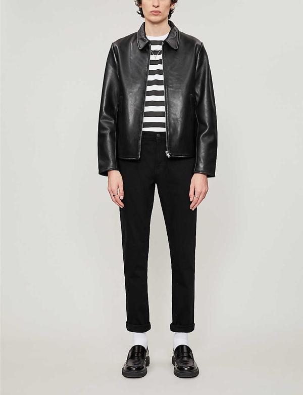 Sandro Slim-fit Leather Jacket In Black