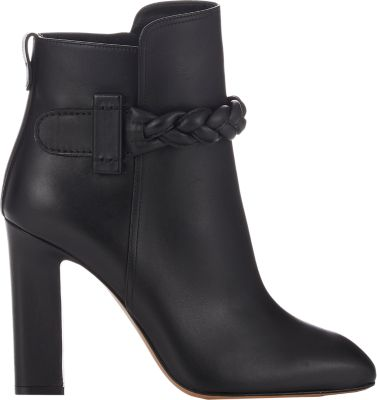 Valentino Woman Braided Leather Ankle Boots Black