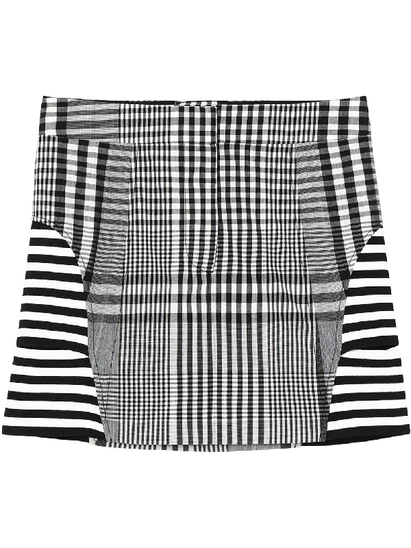 Burberry Stripe And Check Technical Wool Mini Skirt In Black