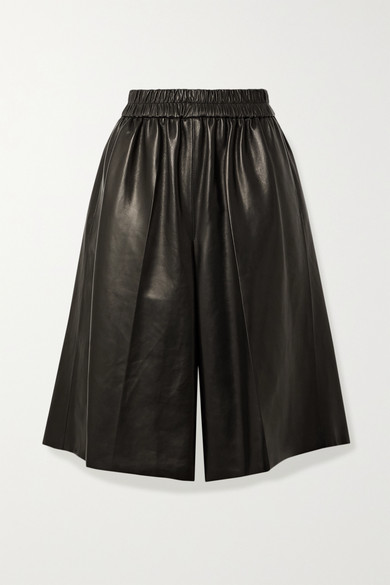 Tom Ford Plonge Leather Basketball Shorts In Black