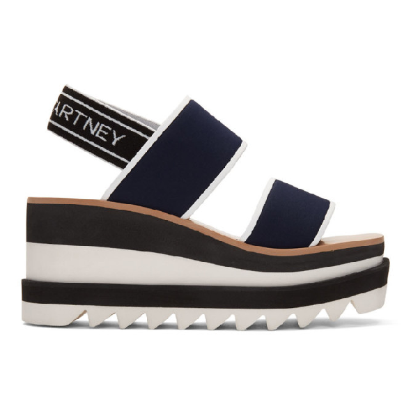 Stella Mccartney Sneak Elyse Nylon Flatform Sandals In Blue