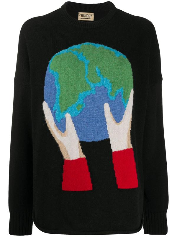 Pringle Of Scotland Recycelter 'globe' Pullover In Black