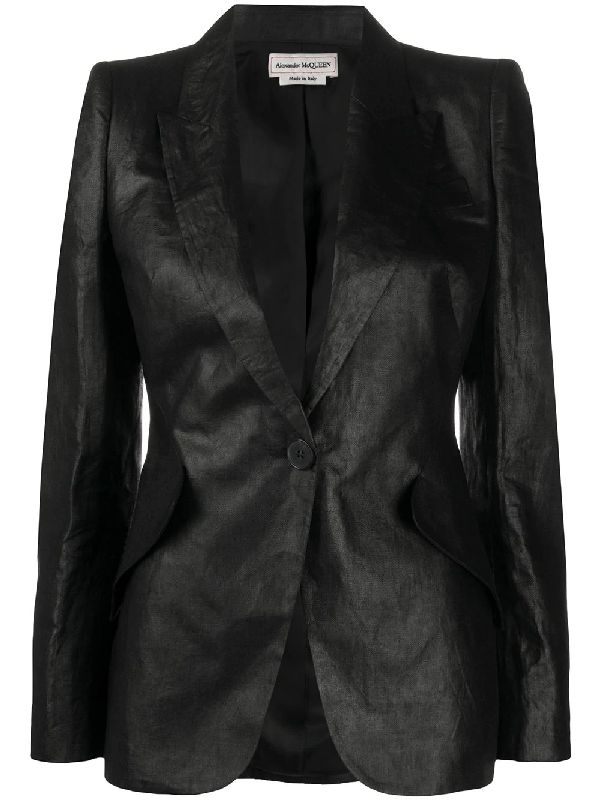 Alexander Mcqueen Single Breasted Linen Blazer In Black