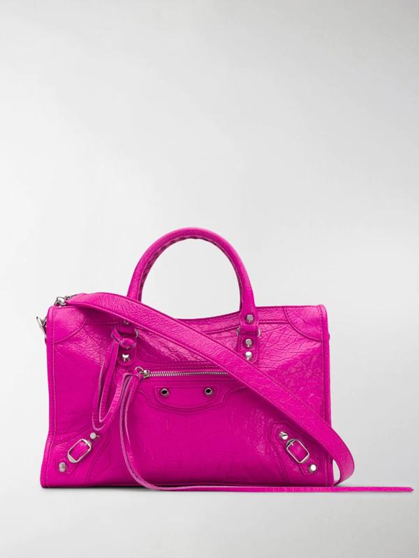 Balenciaga Mini City Leather Top Handle Bag In Fuchsia