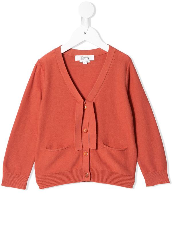 Bonpoint Kids' V-neck Buttoned Cardigan In Orange
