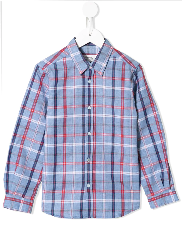 Bonpoint Kids' Check-print Buttoned Shirt In Blue