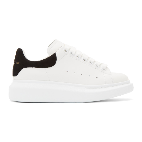 Alexander Mcqueen Contrast Heel Counter Leather Trainers In White/black