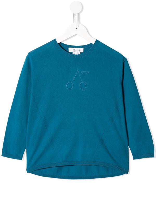 Bonpoint Kids' Embroidered Crew Neck Jumper In Blue