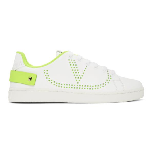 Valentino Garavani Garavani Backnet White Perforated Leather Sneakers In 15k Lime