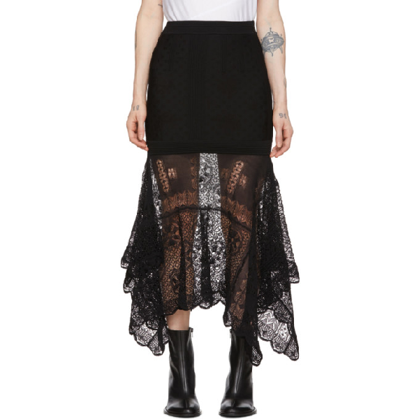 Alexander Mcqueen Navy Lace-trimmed Stretch-knit Midi Skirt In 1000 Black