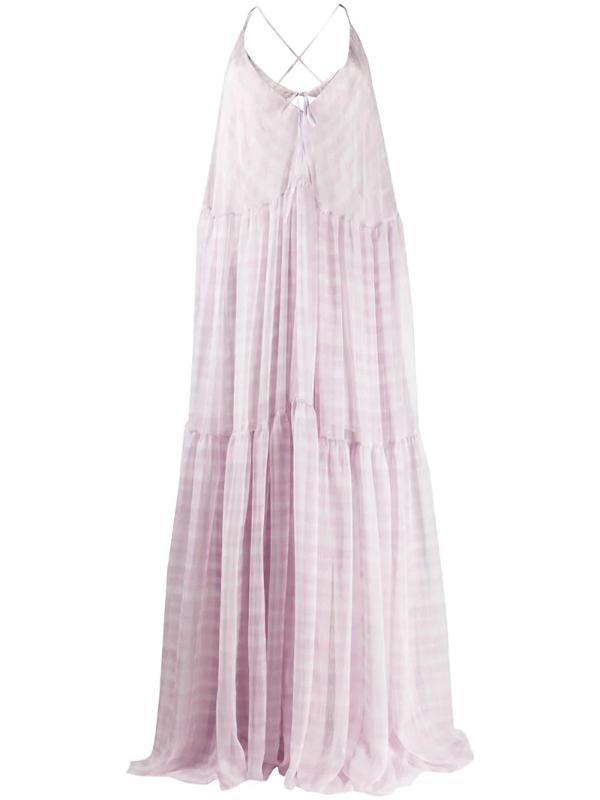 Jacquemus Mistral Cutout Checked Chiffon Maxi Dress In Print Pink