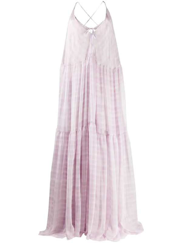 Jacquemus Mistral Cutout Checked Chiffon Maxi Dress In Lilac