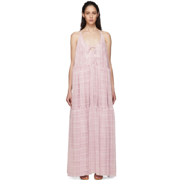 Jacquemus La Robe Mistral Checked Georgette Maxi Dress In Print Pink