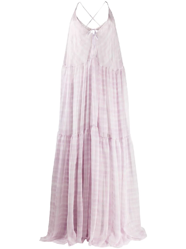 Jacquemus La Robe Mistral Checked Georgette Maxi Dress In Pink