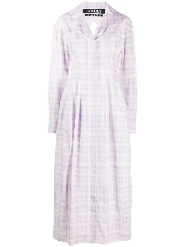 Jacquemus La Robe Valensole Checked Cotton-poplin Midi Dress In Purple