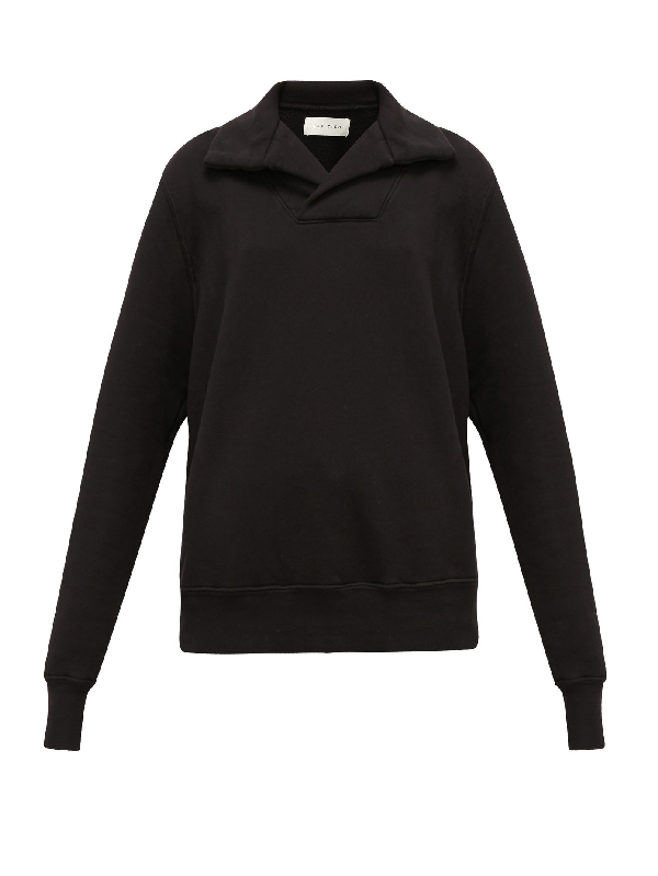 Les Tien Yacht Brushed-back Cotton Sweatshirt In Black