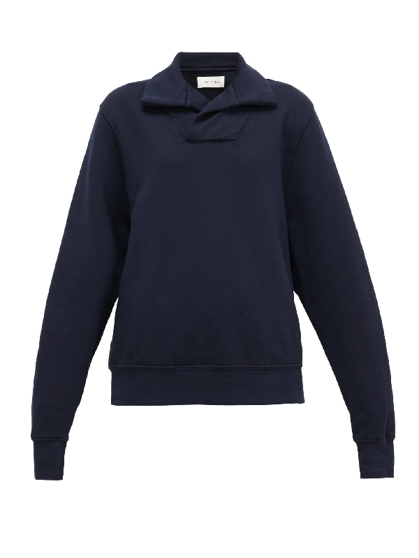 Les Tien Yacht Brushed-back Cotton Sweatshirt In Navy