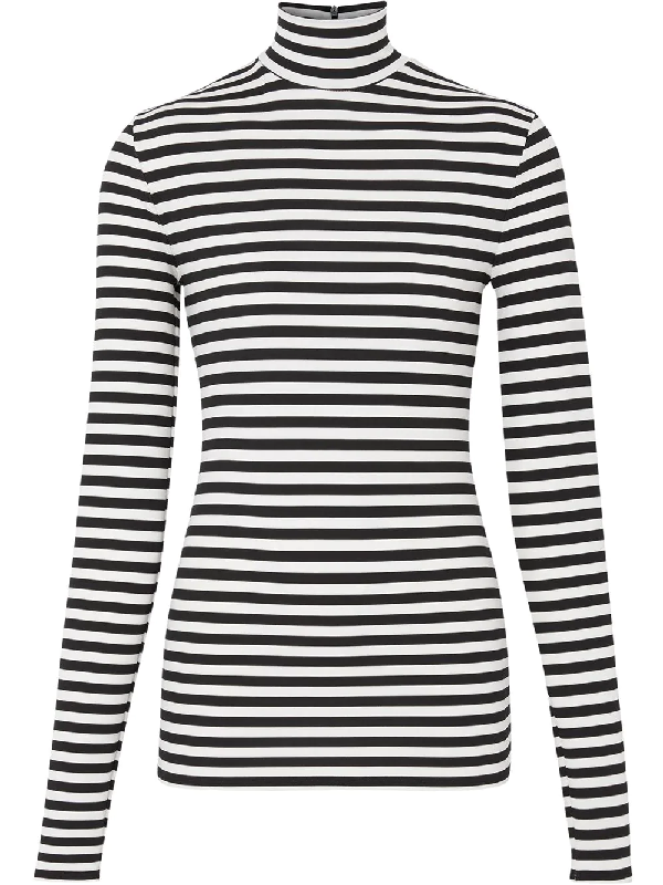 Burberry Striped Stretch Jersey Turtleneck Top In Black