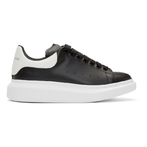 Alexander Mcqueen Exaggerated-sole Rubber-trimmed Leather Sneakers In Black/white