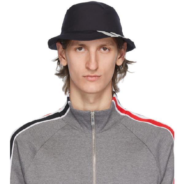 Thom Browne Four-bar Wool Bucket Hat In 415 Navy
