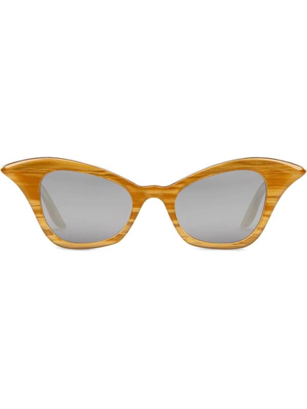 Gucci Cat-eye Mirrored Sunglasses In Yellow