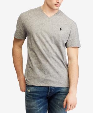 Polo Ralph Lauren Men's Classic-fit V Neck T-shirt In Grey Heather