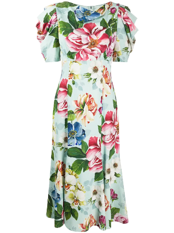 Dolce & Gabbana Floral Print Fitted Midi Dress In Green