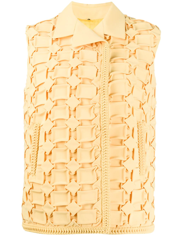 Marco De Vincenzo Geometric Embroidered Vest In Yellow