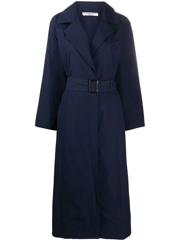 Katharine Hamnett Oversized Fit Belted Trench Coat In Blue