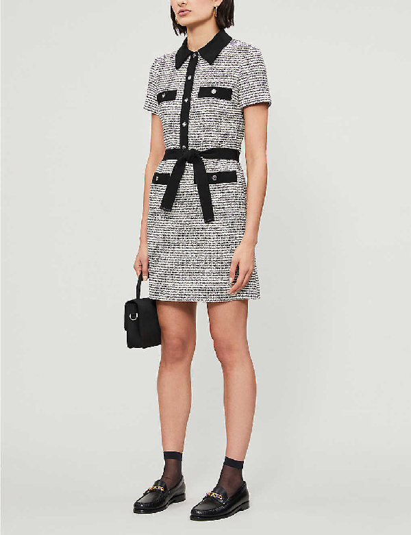 Maje Renala Short Sleeve Tweed Cotton Blend Dress In Black+++white