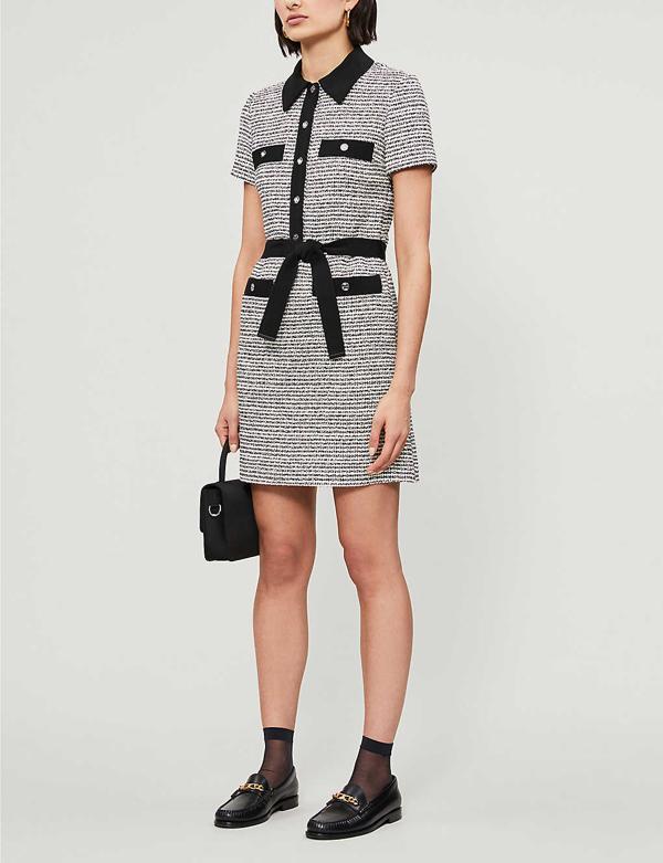 Maje Renala Short Sleeve Tweed Cotton Blend Dress In Black+++white