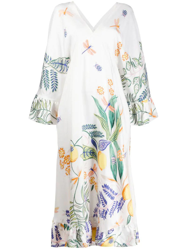 La Doublej Tangier Kaftan Dress In White