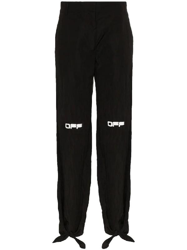 Off-white Black Nylon Bow Lounge Pants In Black/white